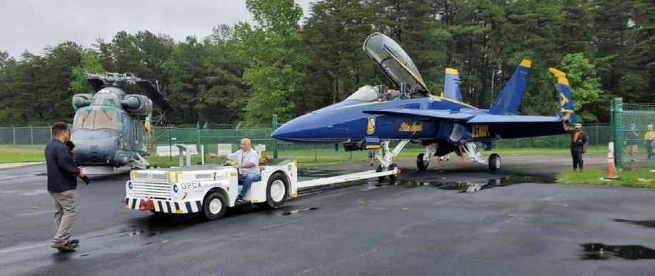 Blue Angel being positioned on flight line.