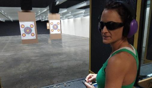 Amy Cunning of Hollywood loads up at Flat Broke Shooters new indoor range. (Photo: The County Times)