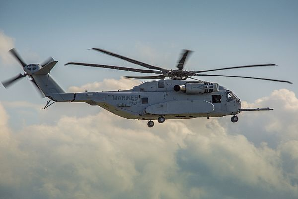 SCHOENEFELD, Germany (April 25, 2018) A CH-53K King Stallion helicopter demonstrates its capabilities at the 2018 Berlin Air Show, Berlin ExpoCenter Airport. The CH-53K King Stallion is a newly developed helicopter designed by Sikorsky to meet the combat-specific needs of the Marine Corps to include quick entrances and exits in combat zones, shipboard operations, and the ability to survive the harshest climates. (U.S. Marine Corps photo by Cpl. Hailey D. Clay)