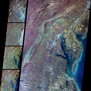 Delaware Bay, Chesapeake Bay, and the Appalachian Mountains
