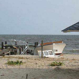 Piney Point - Damaged Boat on the Beach
