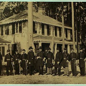 Brig. General James Barnes and Staff, Point Lookout Civil War Prison Camp