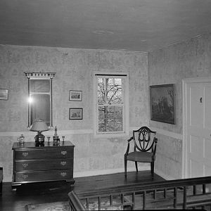Upstairs hall, window toward river