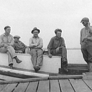 Oystermen at rest. Rock Point, Maryland, 1936