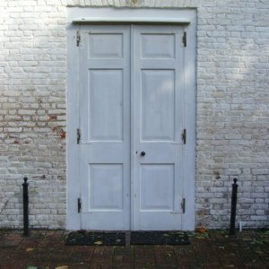 The simple front door of the church