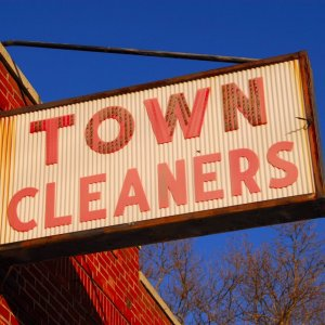 Town Cleaners Old School Sign