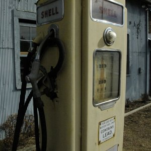 Old gas pump from the side