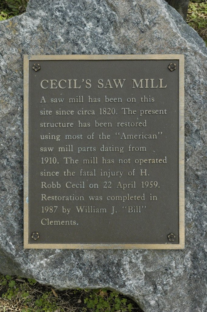 Cecil's Saw Mill plaque